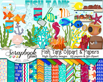 Aquarium clipart handmade. Ocean clip art etsy