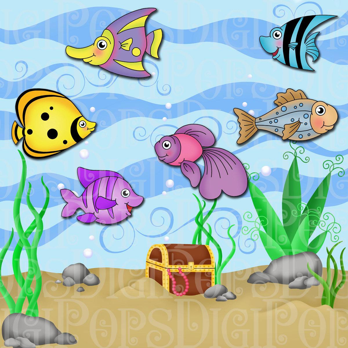 Under the sea digital. Aquarium clipart handmade