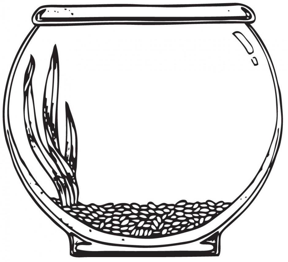 Black and white pencil. Aquarium clipart outline