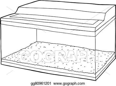 Aquarium clipart outline. Eps vector of with