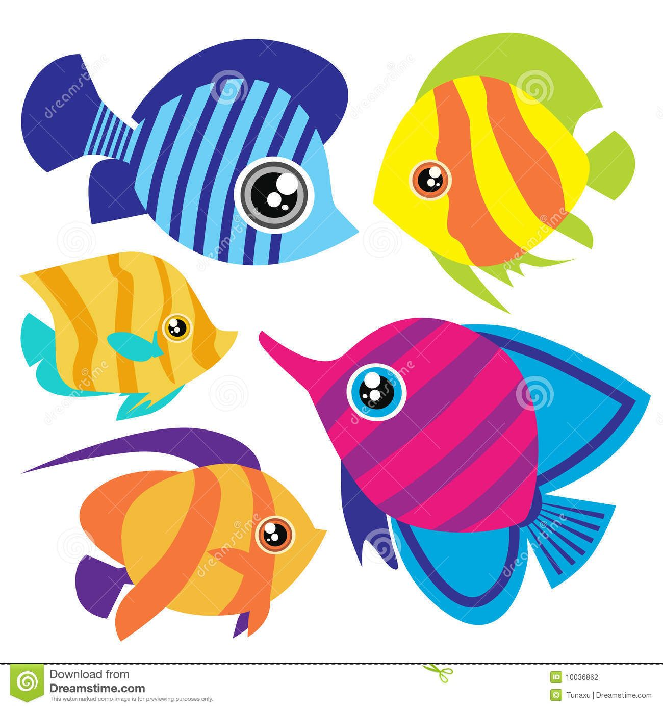 Cute cartoon tropical set. Aquarium clipart pet fish