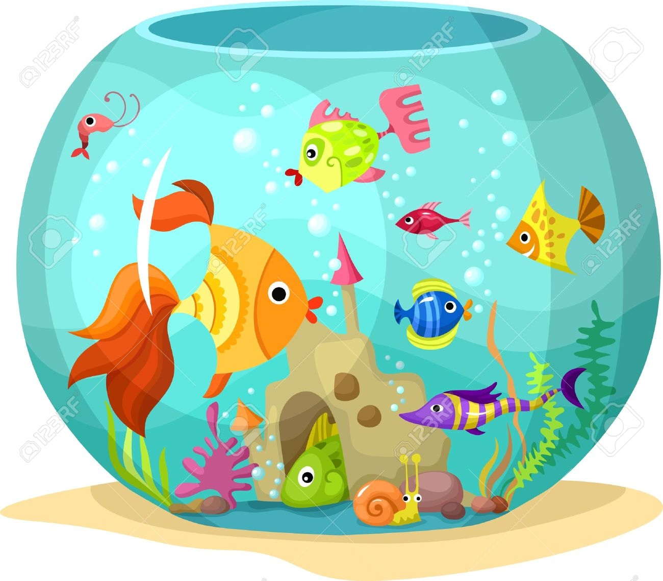 Awesome design digital collection. Aquarium clipart pet fish