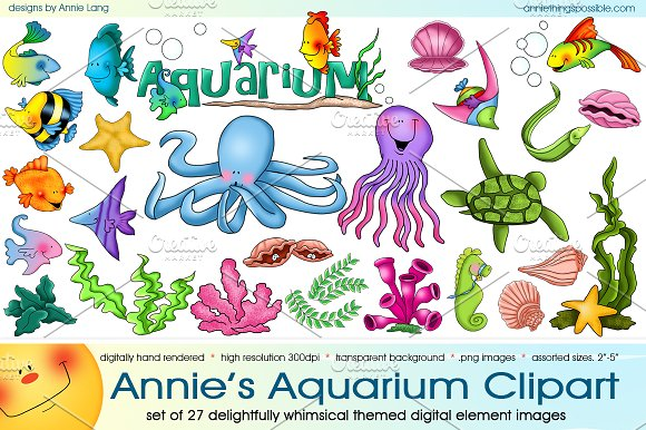 Aquarium clipart scene. Annie s