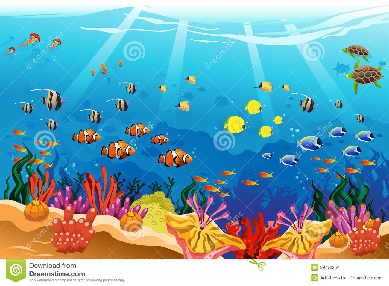 Drawing of underwater how. Aquarium clipart scene