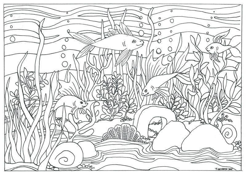 Aquarium clipart scene. Printable coloring pages fjushis
