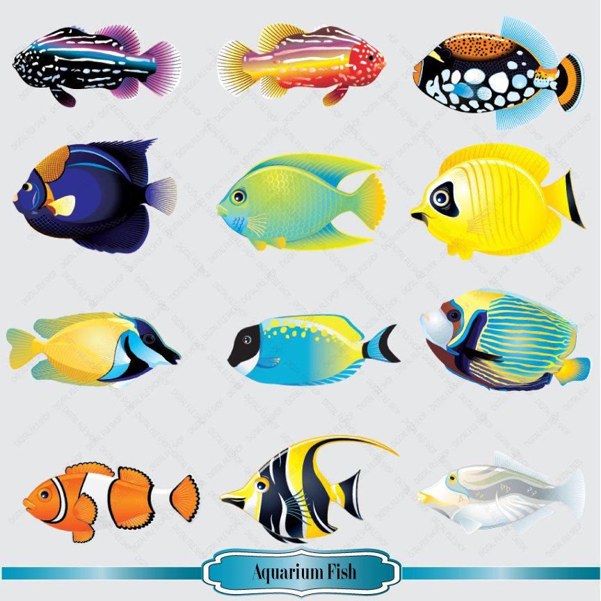 Aquarium clipart scene. Fish set salt water
