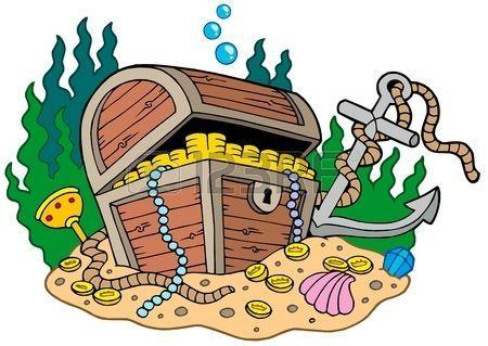 Treasure clipart underwate treasure. Underwater chest on sea