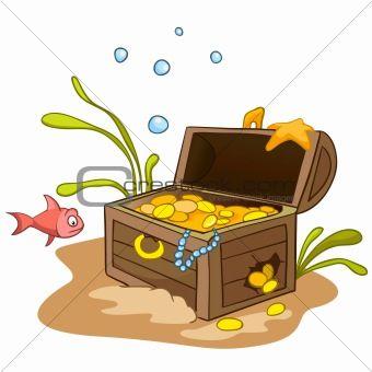 Treasure clipart under sea. Underwater chest clip art