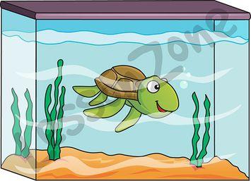 Pencil and in color. Aquarium clipart turtle tank
