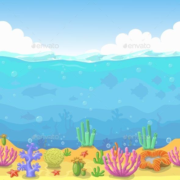 Aquarium clipart underwater ocean. Seamless landscape in cartoon