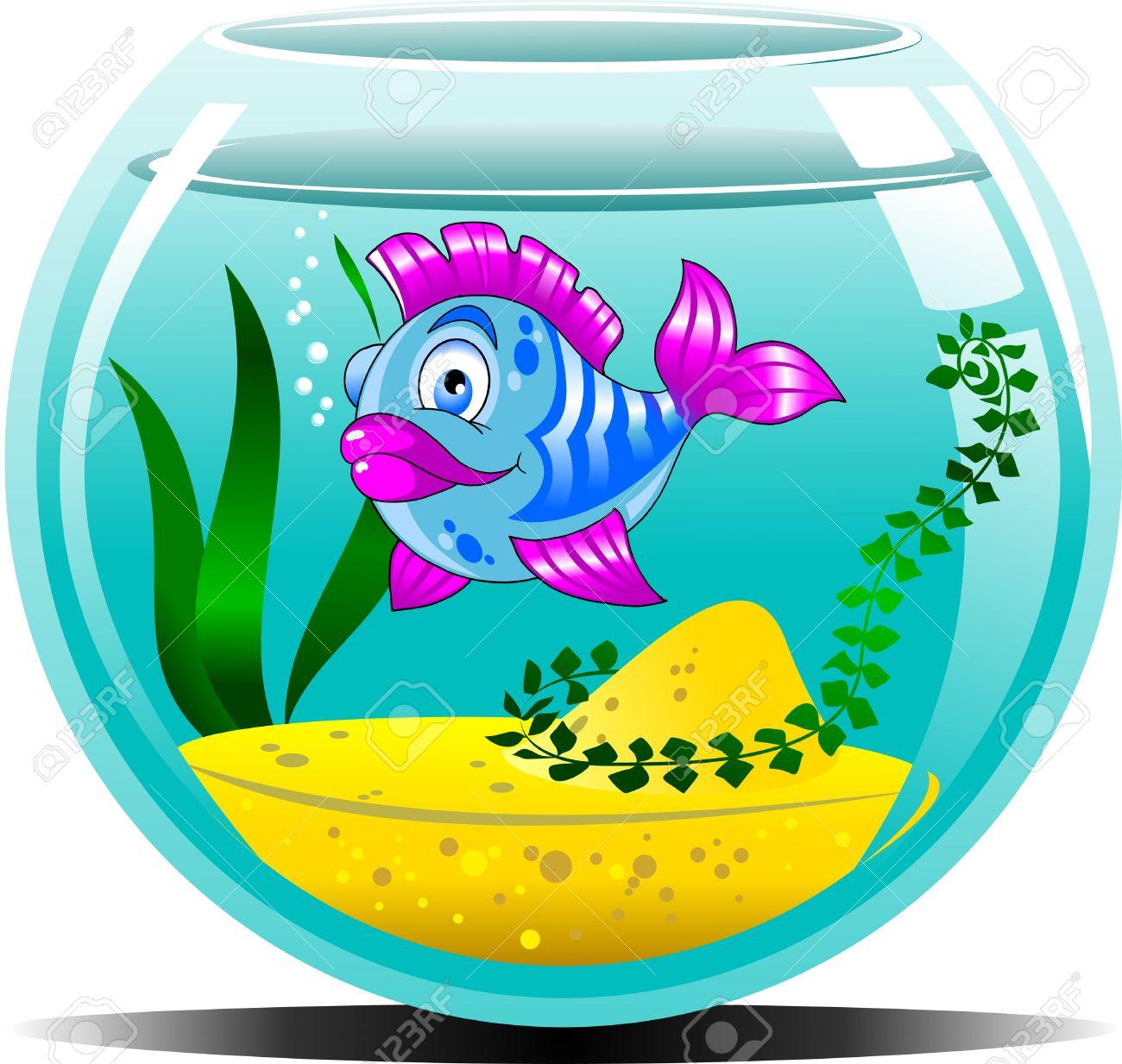 Bowl fish tank pencil. Aquarium clipart vector