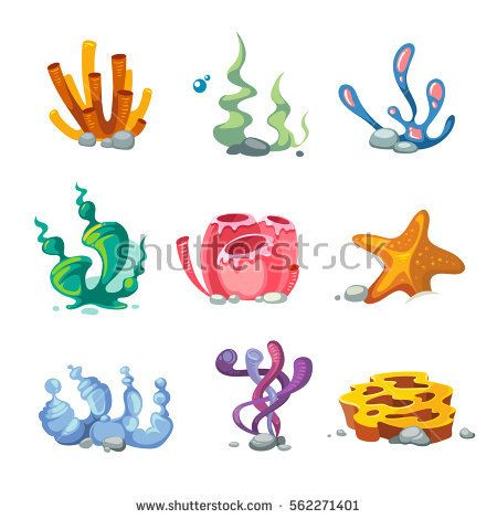 Aquarium clipart vector. Seaweeds decoration cartoon set