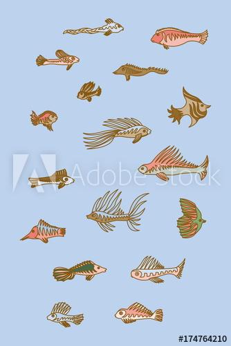 Set of cartoon fishes. Aquarium clipart vector