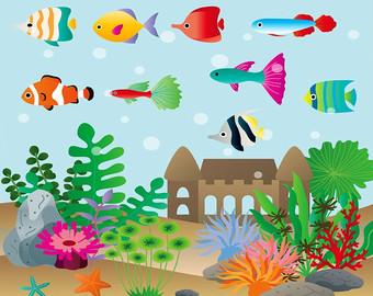 Clip art etsy set. Aquarium clipart