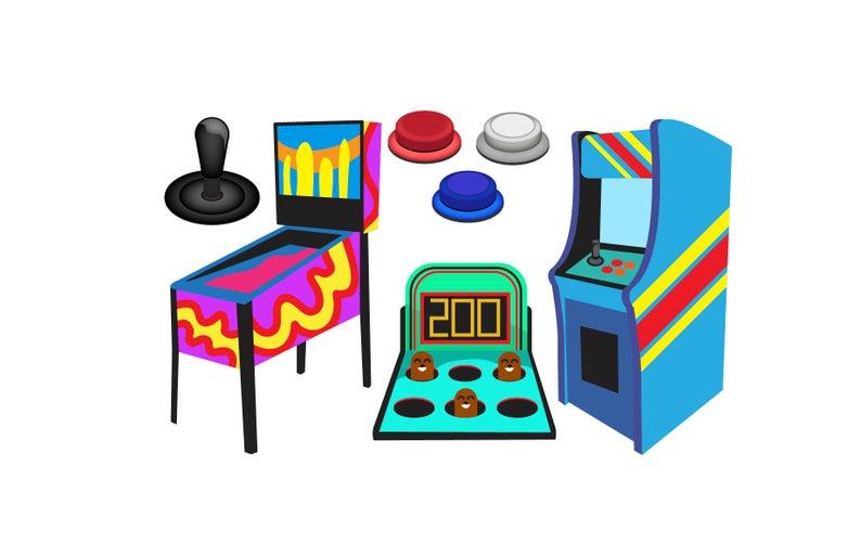 Arcade clipart. Game icons pinball