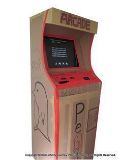 Diy working cardboard game. Arcade clipart arcade box