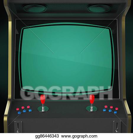 Arcade clipart arcade screen. Vintage game machine cabinet