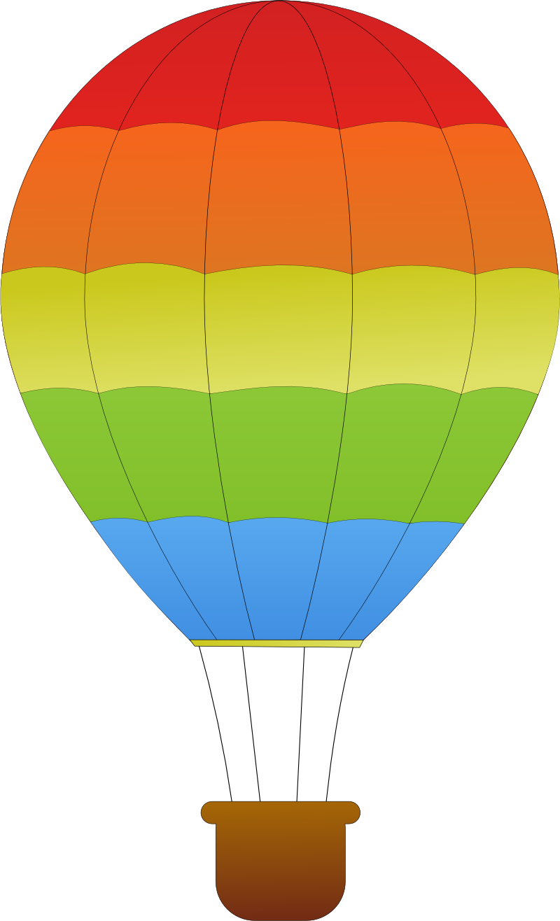 Striped hot air balloons. Crayons clipart horizontal