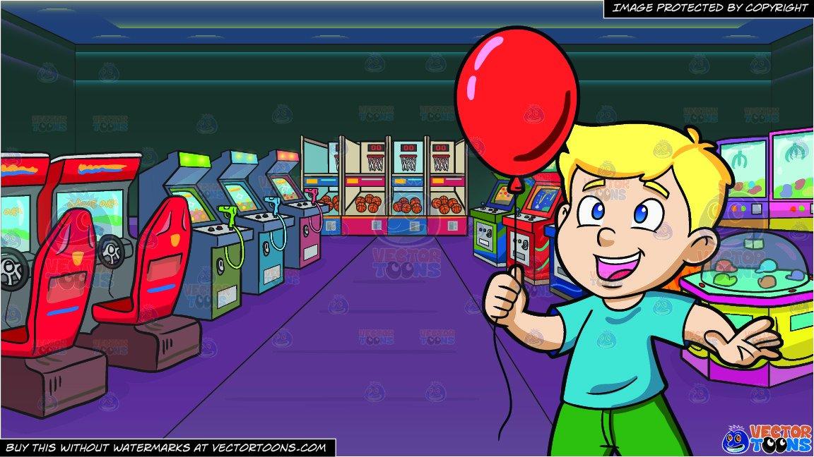 A young boy enjoying. Arcade clipart balloon