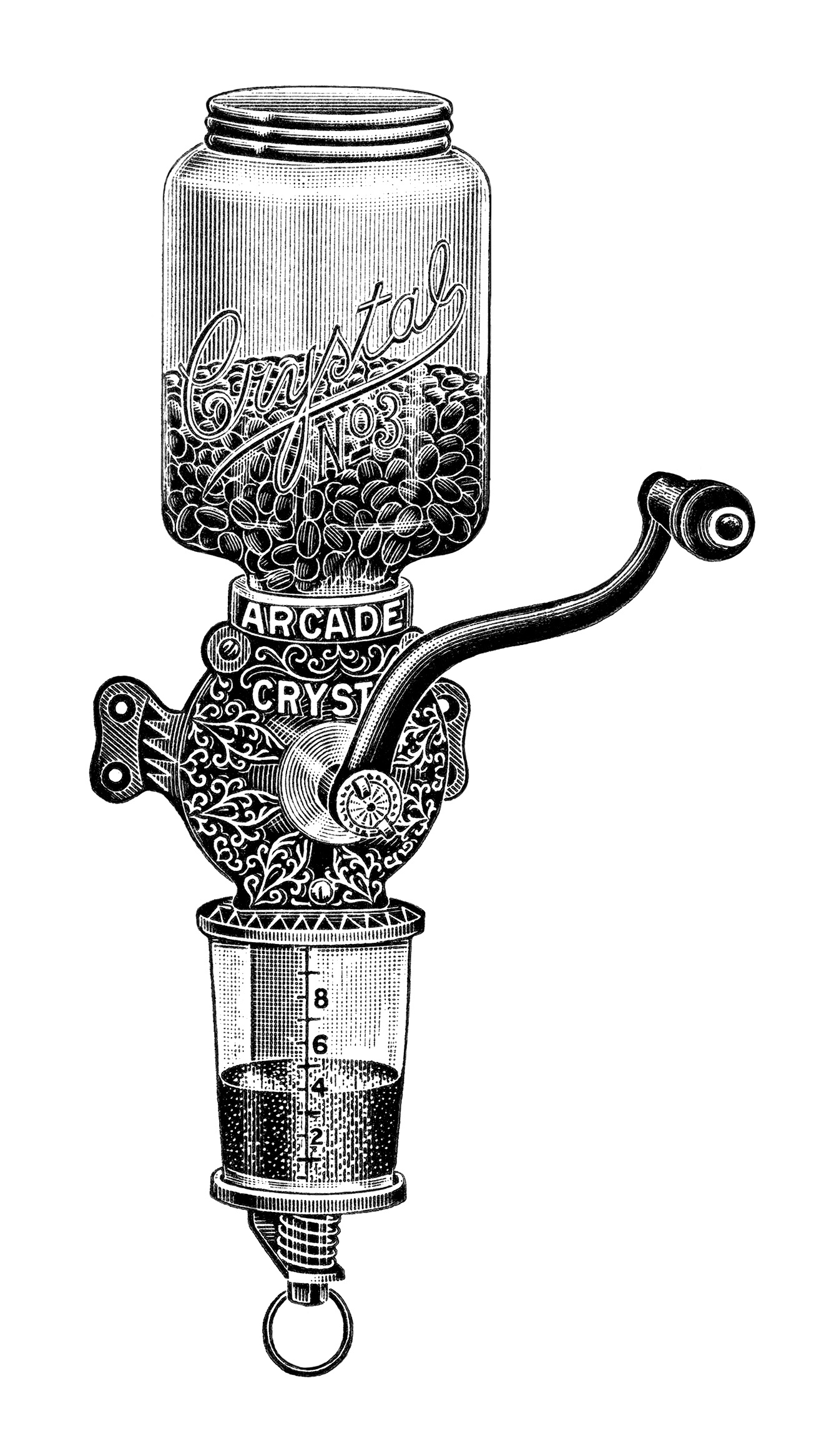Crystal coffee grinder ad. Arcade clipart black and white