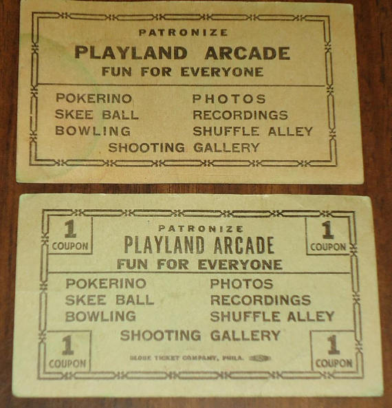 Vintage playland coupon pair. Arcade clipart broadway ticket