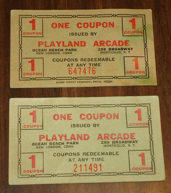 Vintage playland coupon . Arcade clipart broadway ticket