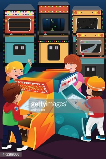 Arcade clipart cartoon. Kids playing games premium