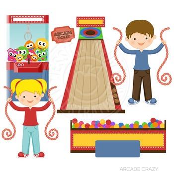Crazy cute digital graphics. Arcade clipart cartoon