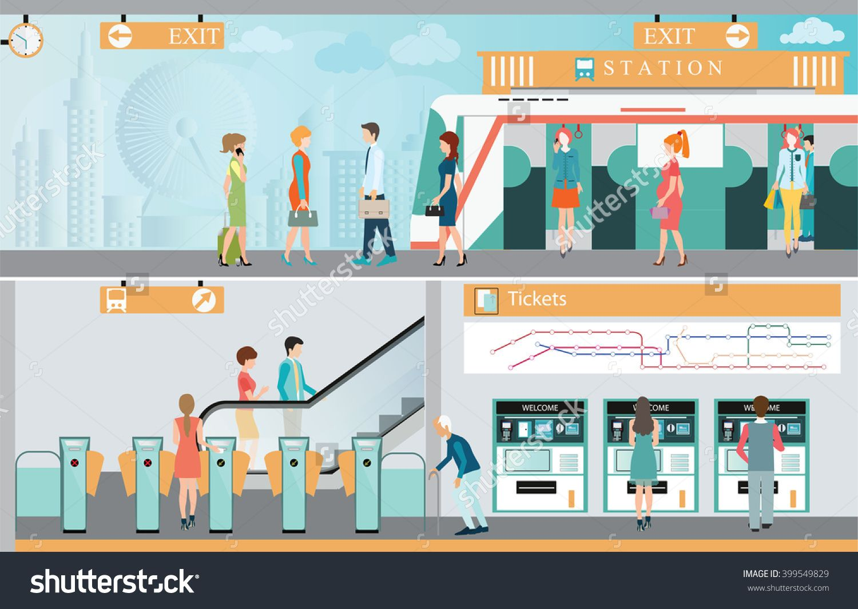 Stock vector subway train. Arcade clipart exit ticket