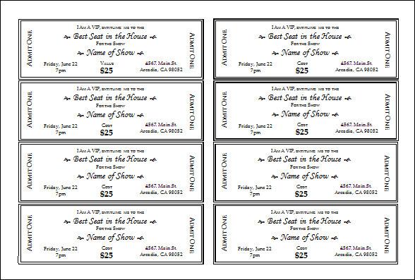 printable templates to. Arcade clipart football ticket