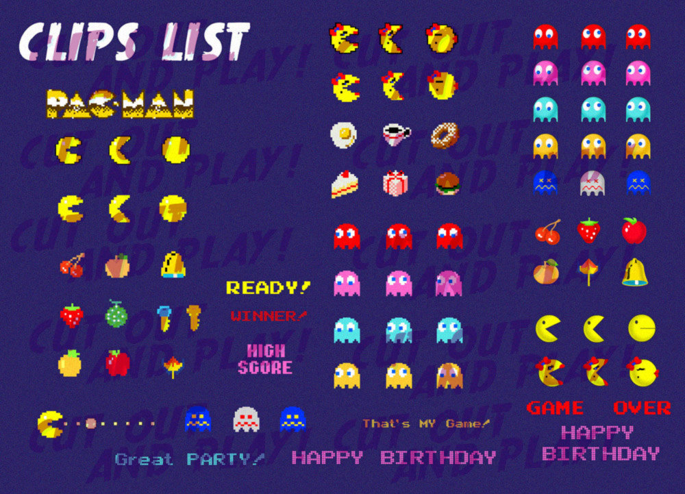 Pacman pixel party gamer. Arcade clipart game over