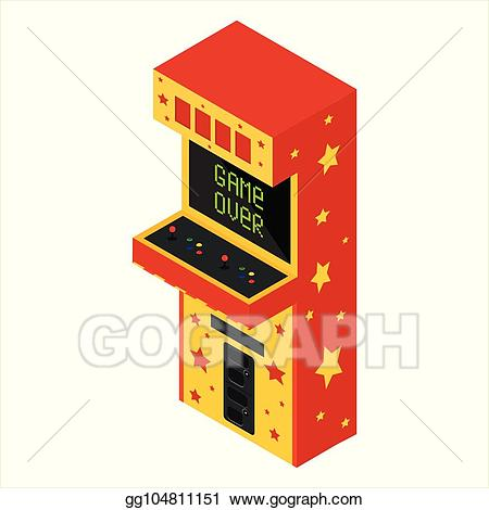 Arcade clipart game over. Vector stock isometric machine