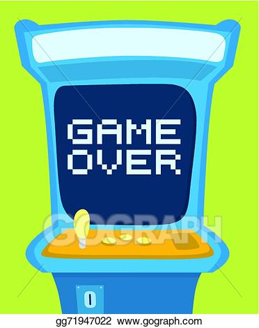 Arcade clipart game over. Vector machine showing message
