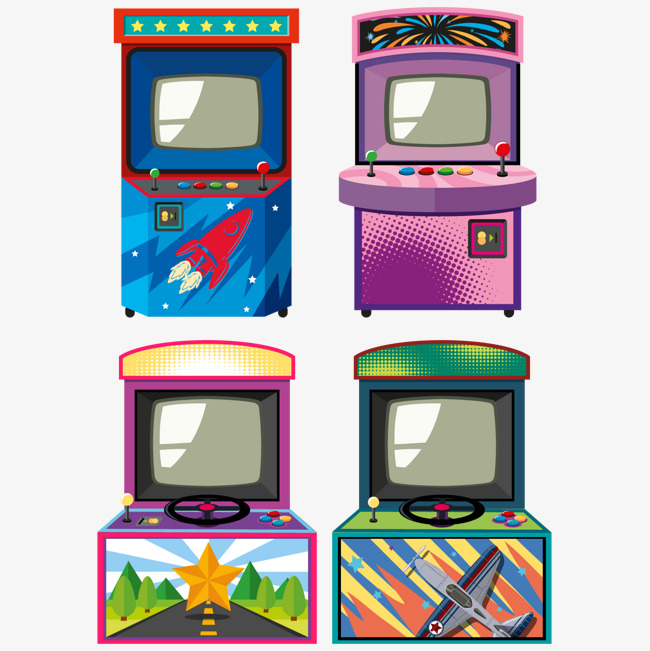 Arcade clipart game room. Vector machine decoration gaming