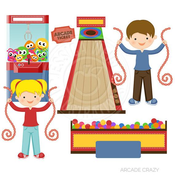 Arcade clipart kids carnival. Crazy cute digital commercial