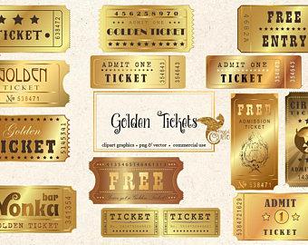 Etsy golden tickets vintage. Arcade clipart movie ticket