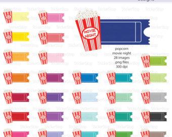 Arcade clipart movie ticket. Etsy popcorn night digital