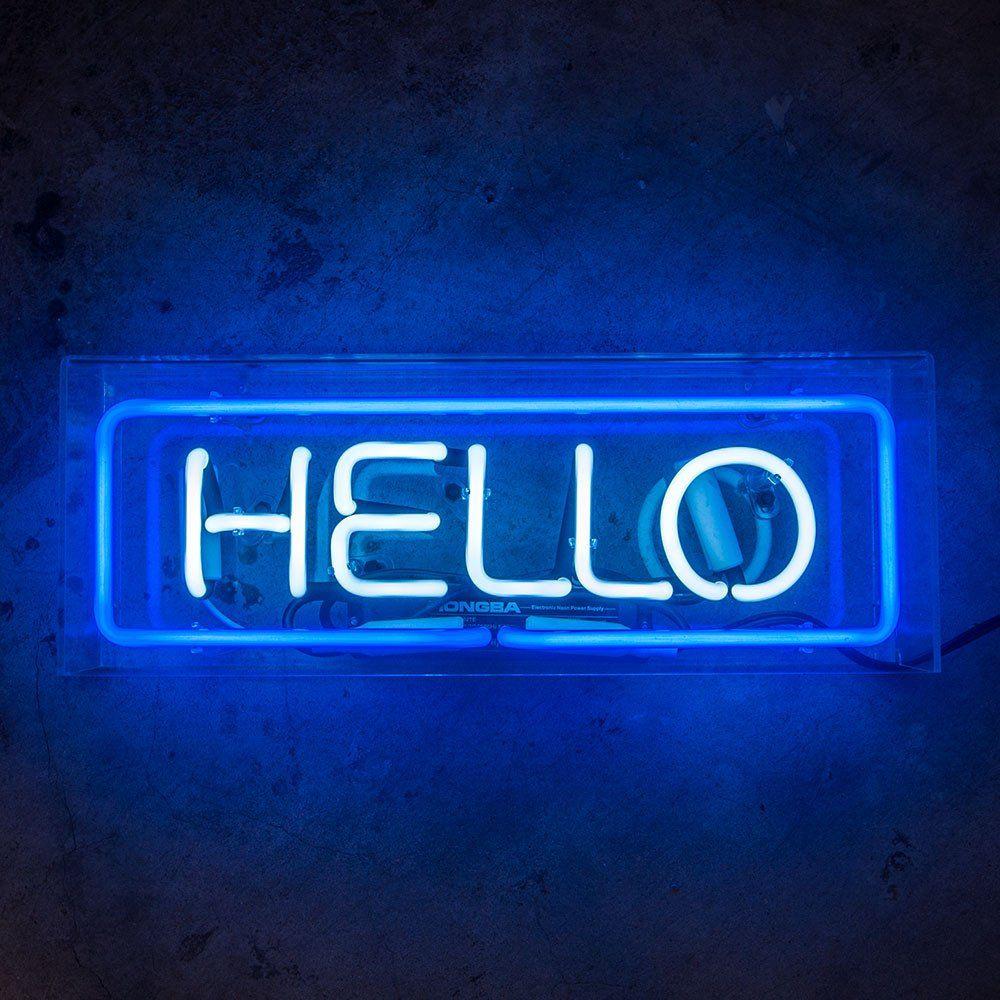 Hello in acrylic box. Arcade clipart neon sign