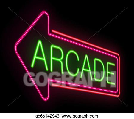 Arcade clipart neon sign. Stock illustration illustrations