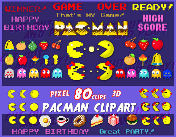 Arcade clipart pacman game. Pixel party