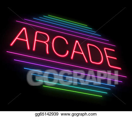 Arcade clipart sign. Stock illustration neon illustrations