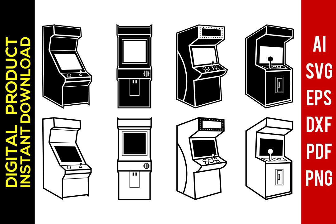 Retro gaming machine video. Arcade clipart svg