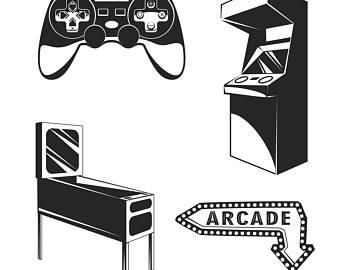 Arcade clipart svg. Retro gaming etsy room