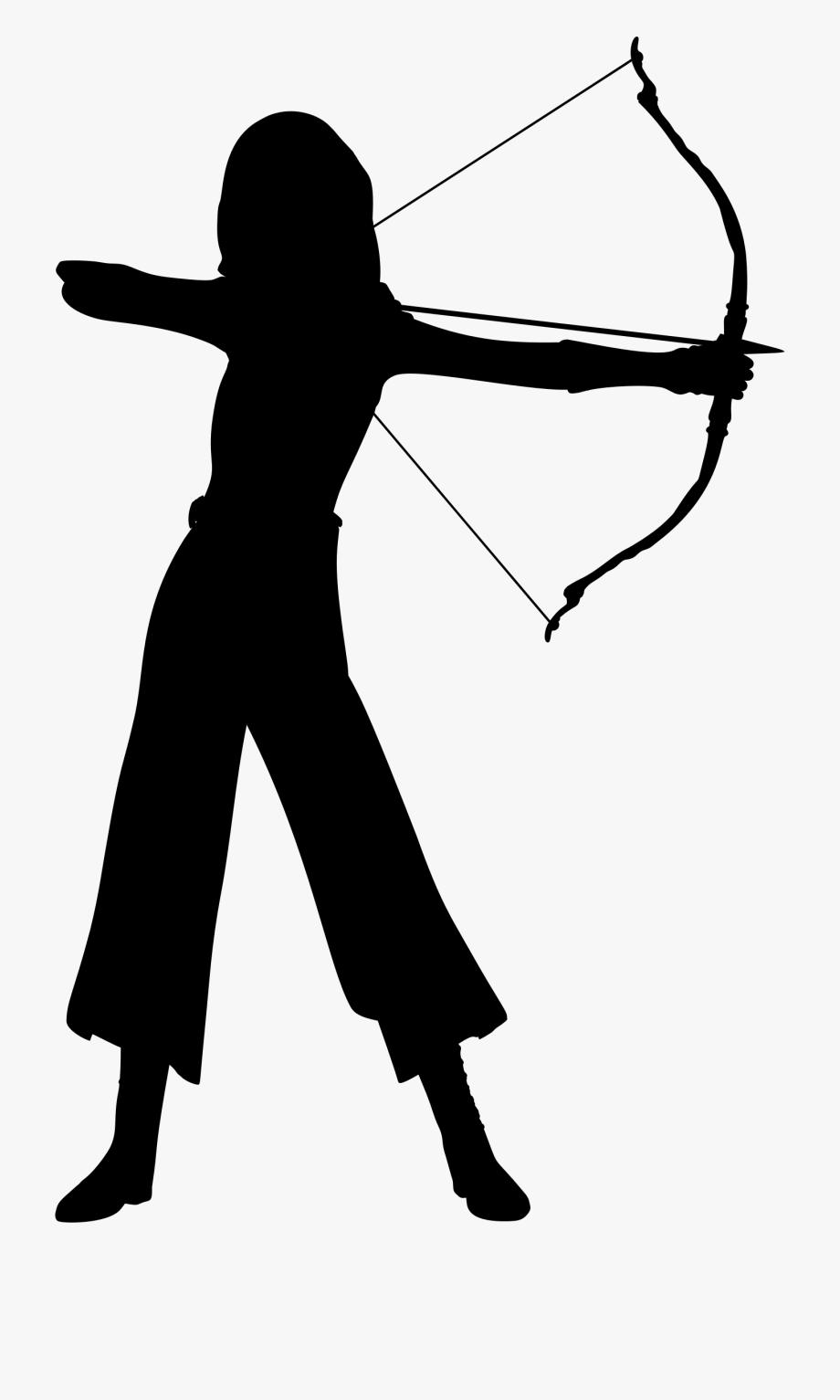 Female silhouette cliparts cartoons. Archer clipart