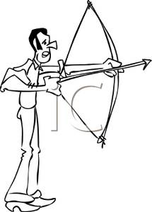 An archer practicing his. Archery clipart man