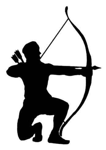Woman archer silhouette at. Archery clipart man