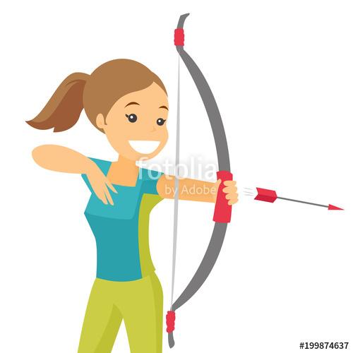 Young caucasian white archer. Archery clipart archery competition