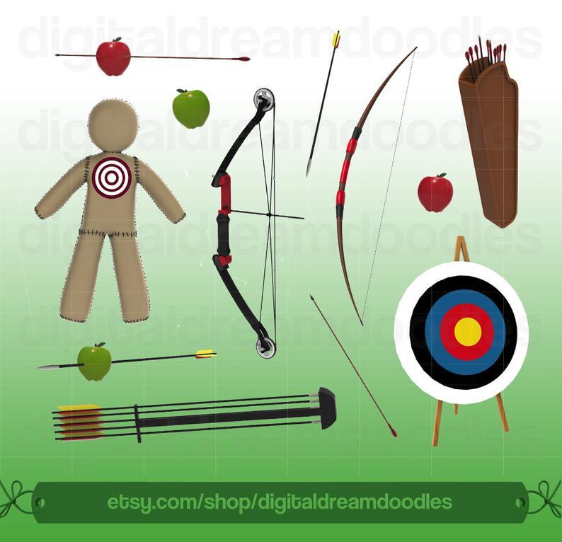Bow arrow clip art. Archery clipart archery range