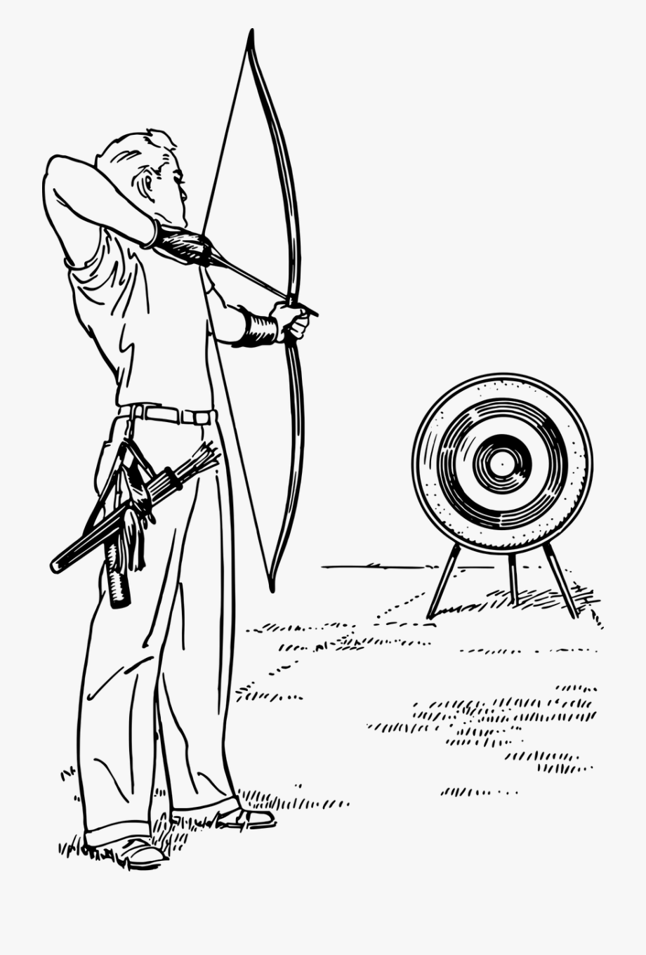 Archery arrow bow png. Archer clipart black and white