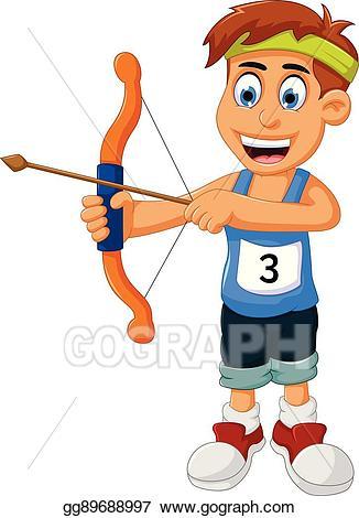 Archery clipart cartoon. Eps vector funny boy